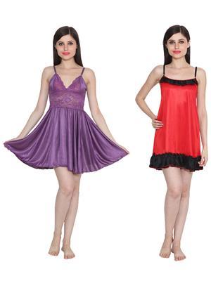 Ansh Fashion Wear W-DL-D1-PRL-D4-RD Purple-Red Women Babydoll Set Of 2