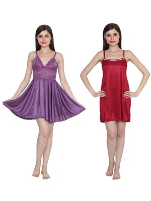 Ansh Fashion Wear W-DL-D1-PRL-D5-MRN Purple-Maroon Women Babydoll Set Of 2