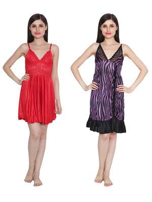 Ansh Fashion Wear W-DL-D1-RD-D6-PRL Red-Purple Women Babydoll Set Of 2