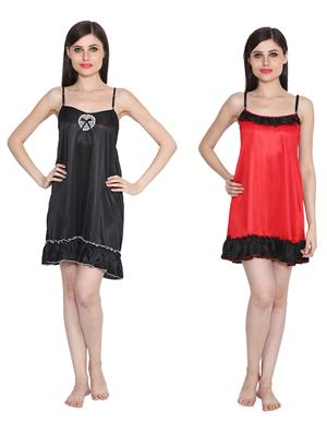 Ansh Fashion Wear W-DL-D2-BLK-D4-RD Black-Red Women Babydoll Set Of 2