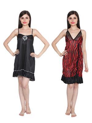 Ansh Fashion Wear W-DL-D2-BLK-D6-RD Black-Red Women Babydoll Set Of 2