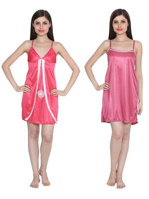 Ansh Fashion Wear W-DL-D3-PNK-D5-PNK Pink Women Babydoll Set Of 2