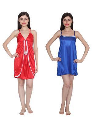 Ansh Fashion Wear W-DL-D3-RD-D5-BLU Red-Blue Women Babydoll Set Of 2