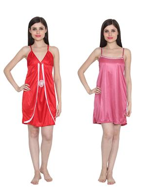 Ansh Fashion Wear W-DL-D3-RD-D5-PNK Red-Pink Women Babydoll Set Of 2