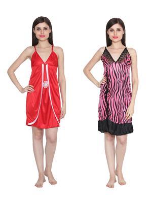 Ansh Fashion Wear W-DL-D3-RD-D6-PNK Red-Pink Women Babydoll Set Of 2