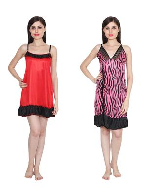 Ansh Fashion Wear W-DL-D4-RD-D6-PNK Red-Pink Women Babydoll Set Of 2