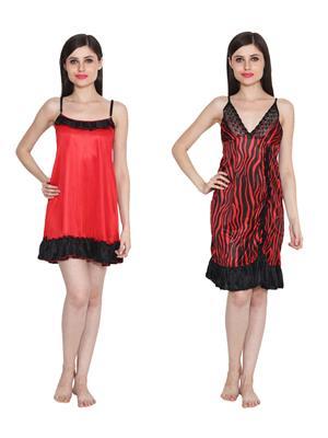 Ansh Fashion Wear W-DL-D4-RD-D6-RD Red Women Babydoll Set Of 2