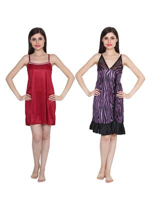 Ansh Fashion Wear W-DL-D5-MRN-D6-PRL Maroon-Purple Women Babydoll Set Of 2