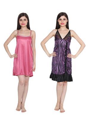 Ansh Fashion Wear W-DL-D5-PNK-D6-PRL Pink-Purple Women Babydoll Set Of 2