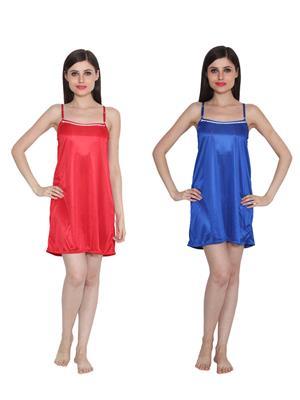 Ansh Fashion Wear W-DL-D5-RD-BLU Red-Blue Women Babydoll Set Of 2