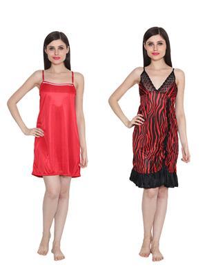 Ansh Fashion Wear W-DL-D5-RD-D6-RD Red Women Babydoll Set Of 2