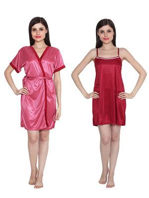 Ansh Fashion Wear W-DL-D8-PNK-D5-MRN Pink-Maroon Women Babydoll Set Of 2
