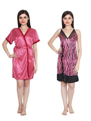 Ansh Fashion Wear W-DL-D8-PNK-D6-PNK Pink Women Babydoll Set Of 2