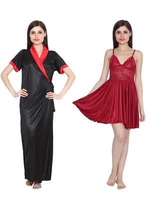 Ansh Fashion Wear W-DL-D9-BLK-D1-MRN Black-Maroon Women Babydoll Set Of 2