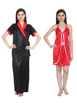 Ansh Fashion Wear W-DL-D9-BLK-D3-RD Black-Red Women Babydoll Set Of 2