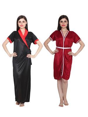 Ansh Fashion Wear W-DL-D9-BLK-D8-MRN Black-Maroon Women Babydoll Set Of 2