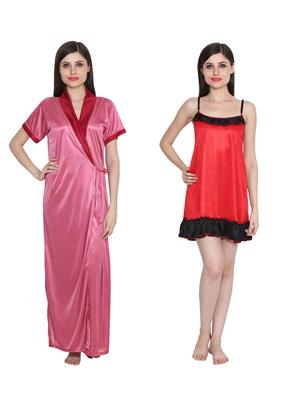 Ansh Fashion Wear W-DL-D9-PNK-D4-RD Pink-Red Women Babydoll Set Of 2