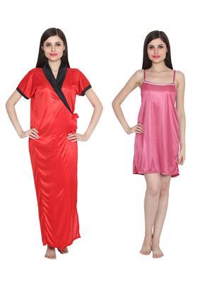 Ansh Fashion Wear W-DL-D9-PNK-D5-PNK Red-Pink Women Babydoll Set Of 2