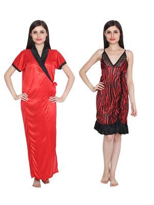 Ansh Fashion Wear W-DL-D9-RD-D6-RD Red Women Babydoll Set Of 2