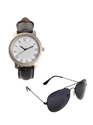 Ansh Fashion Wear 2CM-WCH-SNS Black Men Watch With Sunglass