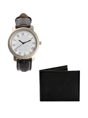 Ansh Fashion Wear 2CM-WTC-PRS Black Men Watch With Wallet