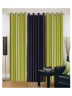 SAI ARPAN 2GREEN-1BLACK-7FT Multicolor Door Curtain