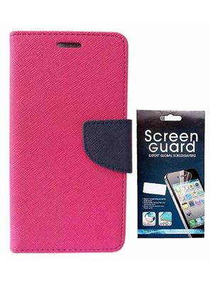 Serkudos Htc Desire 526G+  Pink Flip Cover With Screenguard Combo