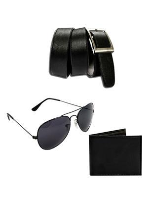 Ansh Fashion Wear 3CM-BLT-SUN-PRS Black Men Wallet, Belt And Sunglass