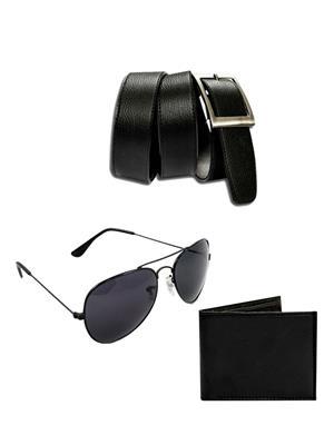 Ansh Fashion Wear 3CM-PRS-BLT-SUN Black Men Wallet, Belt And Sunglass