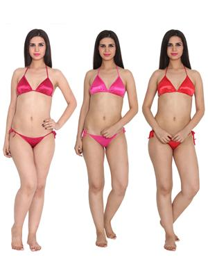 Ansh Fashion Wear 3Cm-Strby-A Red Women Bra Panty Set Of 3