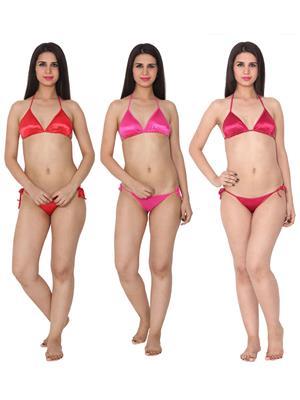 Ansh Fashion Wear 3Cm-Strby-B Red Women Bra Panty Set Of 3