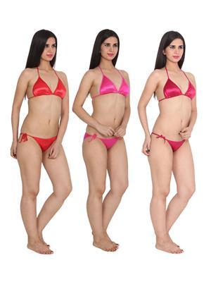 Ansh Fashion Wear 3Cm-Strby-D Red Women Bra Panty Set Of 3
