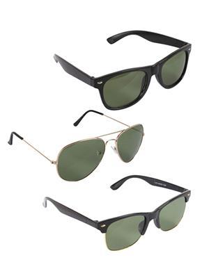 Ansh Fashion Wear 3CM-SUN-7 Black Aviator Sunglasses Set Of 3