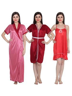 Ansh Fashion Wear 3Cm-W-Doll-11 Multicolored Women Night Wear Set Of 3
