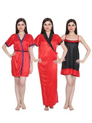 Ansh Fashion Wear 3Cm-W-Doll-40 Multicolored Women Night Wear Set Of 3