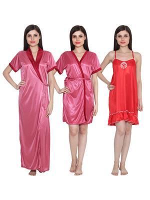 Ansh Fashion Wear 3Cm-W-Doll-5 Multicolored Women Night Wear Set Of 3