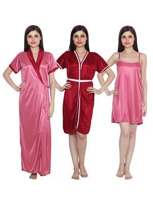Ansh Fashion Wear 3Cm-W-Doll-8 Multicolored Women Night Wear Set Of 3