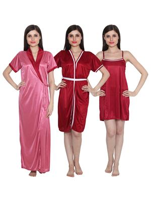 Ansh Fashion Wear 3Cm-W-Doll-9 Multicolored Women Night Wear Set Of 3