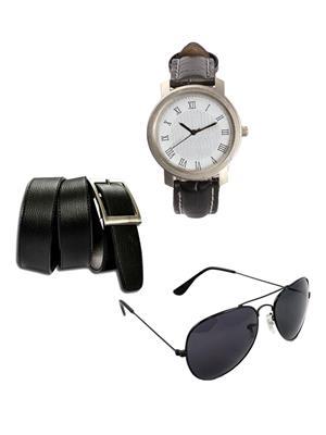 Ansh Fashion Wear 3CM-WCH-BLT-SUN Black Men Watch, Belt And Sunglass