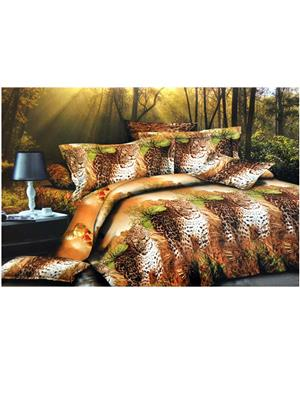 Jazz 3D10 Multicolored Double Bedsheet With 2 Pillow Covers