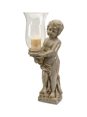 Interior Passion 40265 Angel Cherub with Glass Hurricane