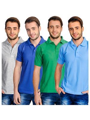 Superjoy 444Cbgs Multicolored Men T-Shirts Set Of 4