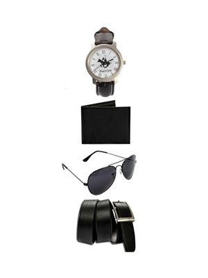 Ansh Fashion Wear 4CM-WPBS Black Men Watch, Wallet, Sunglass And Belt