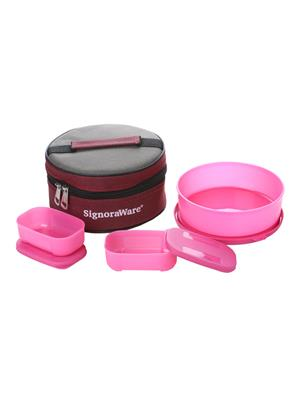 Signoraware 501 Pink Lunch Box With Bag