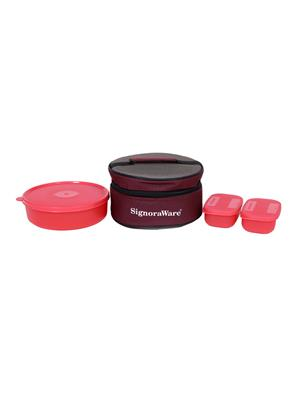 Signoraware 501 Red Lunch Box With Bag