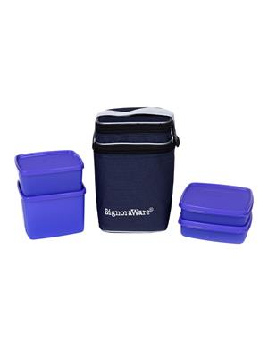 Signoraware 505 Deep Violet Lunch Box With Bag