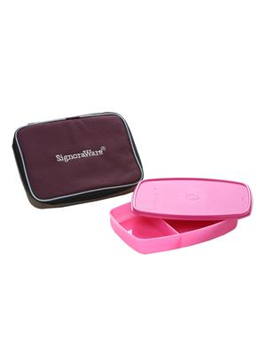 Signoraware 507 Pink Lunch Box With Bag