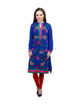 Gauri 508 Blue Women Woolen Kurti