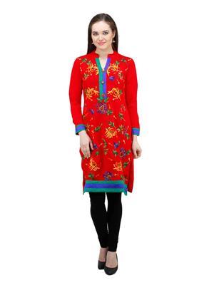 Gauri 508 Red Women Woolen Kurti
