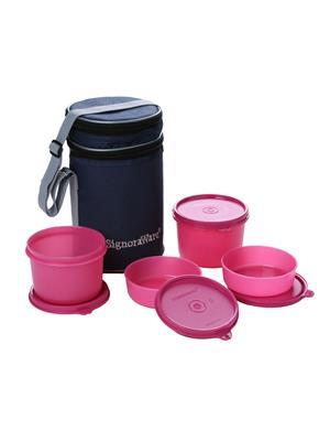 Signoraware 509 Pink Lunch Box With Bag